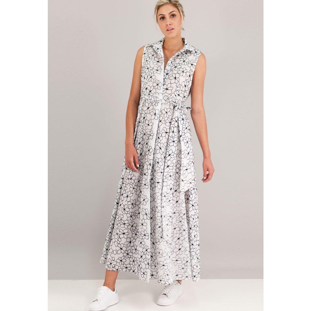 Maxi φόρεμα με κεντημένο μοτίβο και κουμπιά μπροστά. ενδυματα   φορεματα