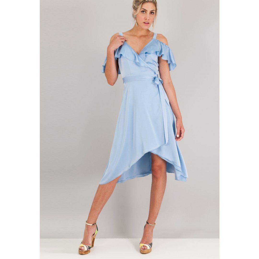 Ασύμμετρο σατέν κρουαζέ φόρεμα με έξω τους ώμους και βολάν στο μπούστο. ενδυματα   φορεματα