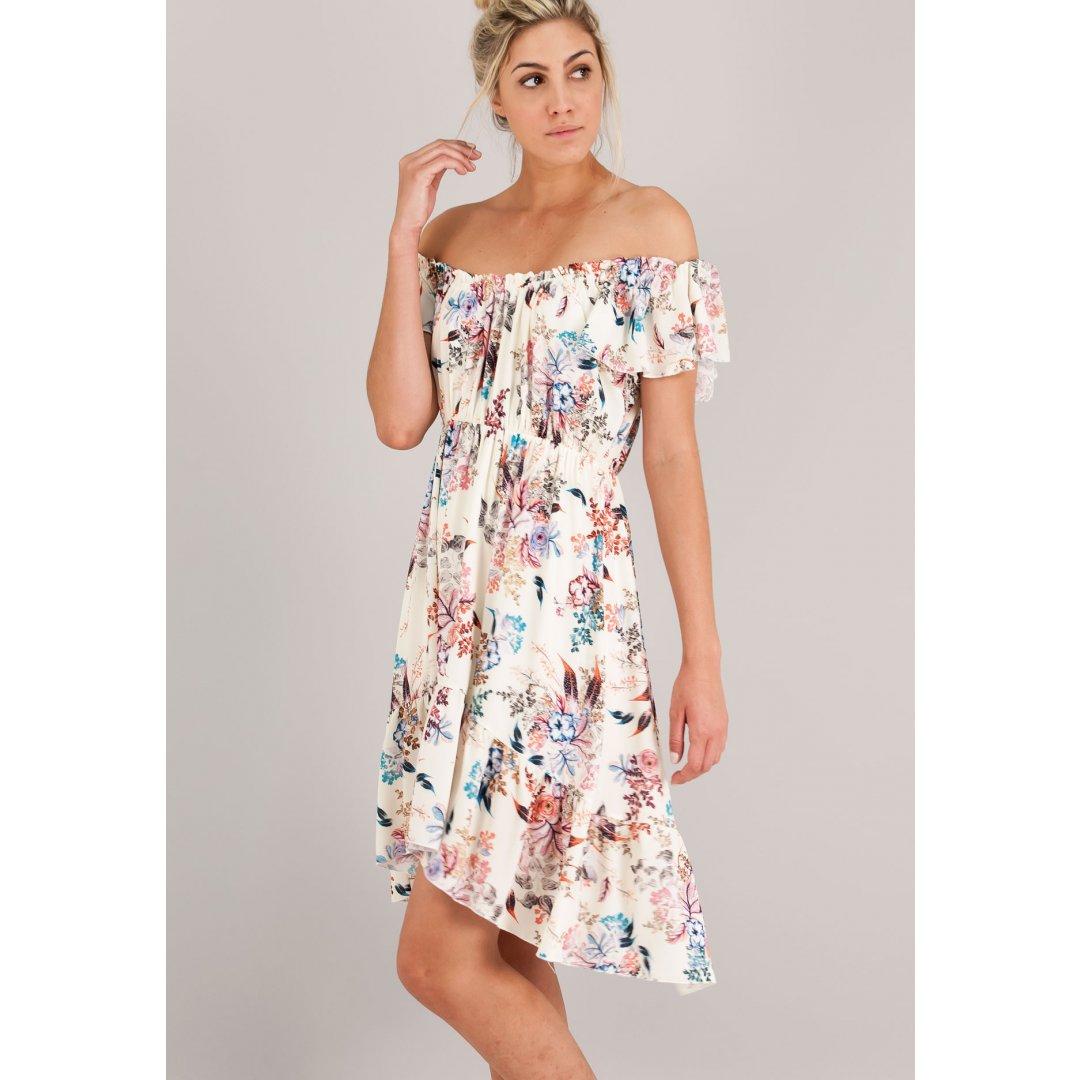 Ασύμμετρο εμπριμέ φόρεμα με βολάν. ενδυματα   φορεματα
