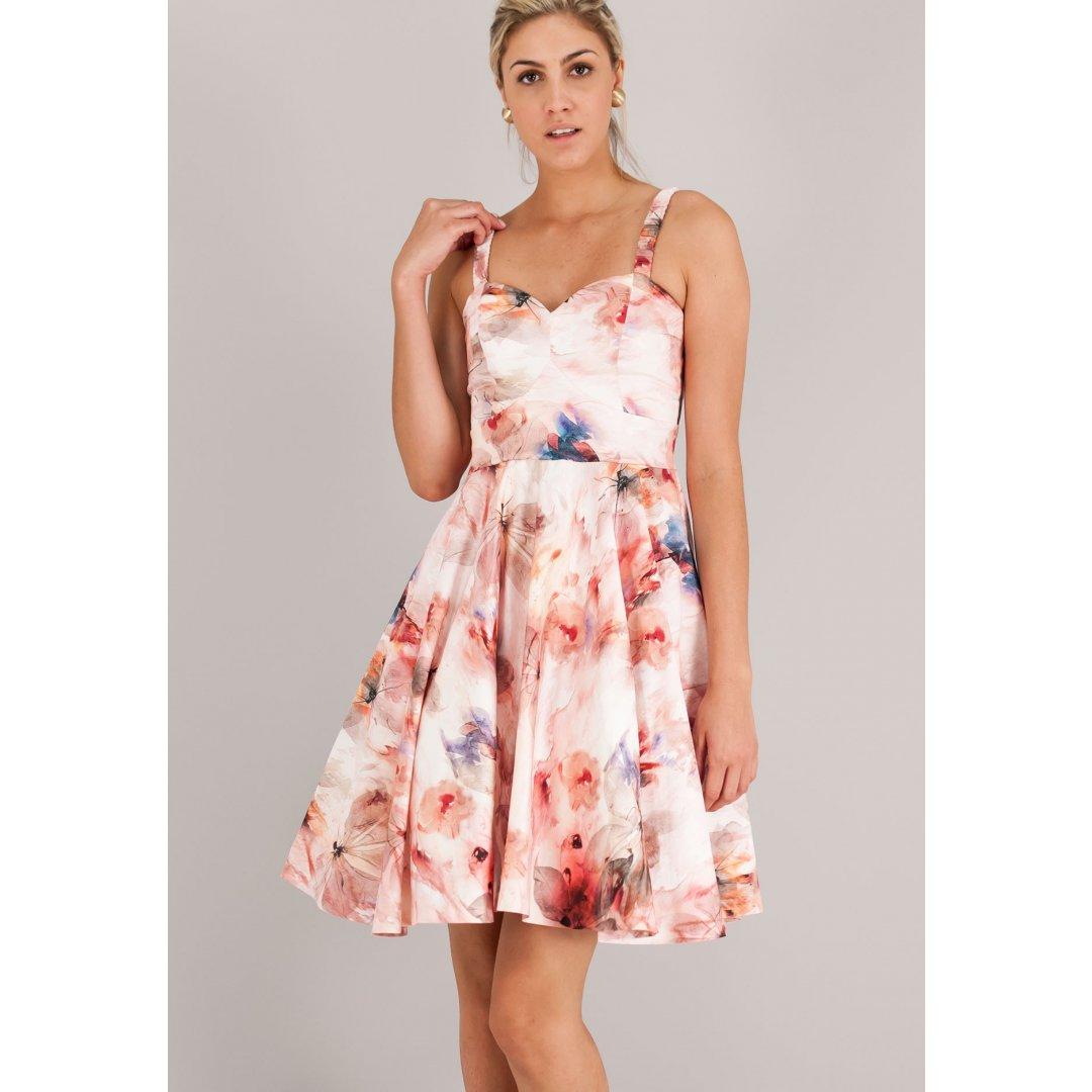 Εμπριμέ φόρεμα σε γραμμή Α με τιράντες. ενδυματα   φορεματα