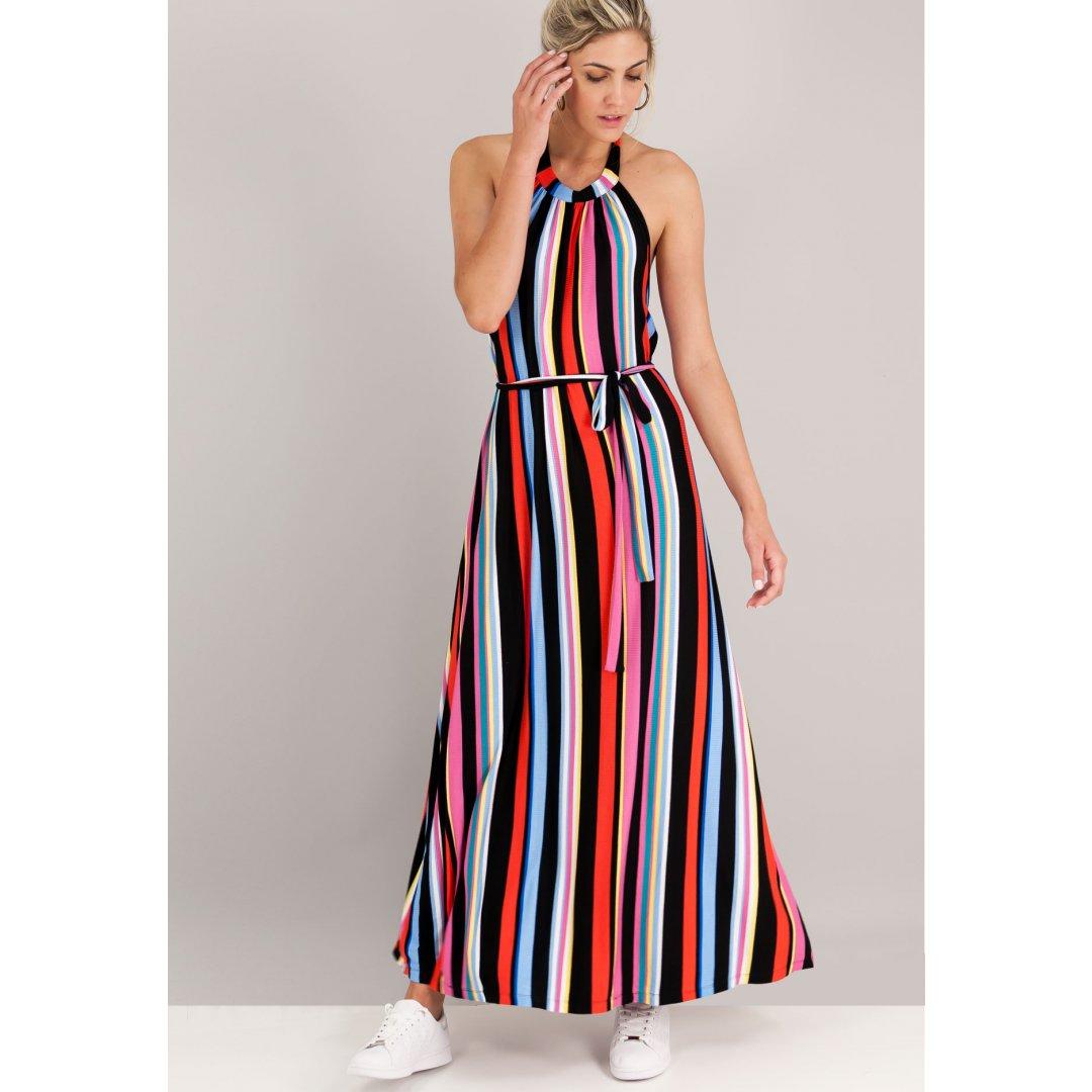 Μακρύ πολύχρωμο ριγέ φόρεμα με δέσιμο στο λαιμό. ενδυματα   φορεματα