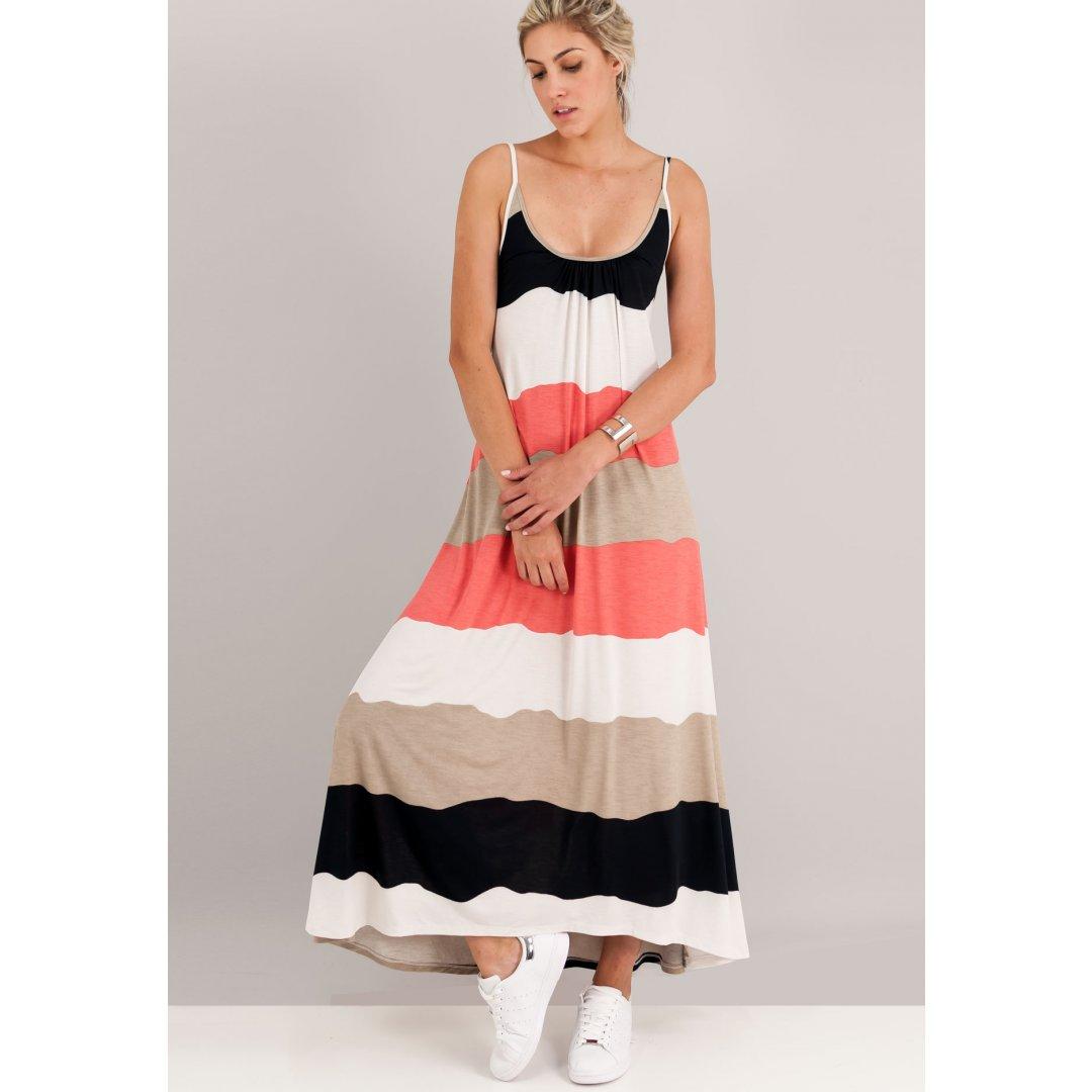 Μακρύ φόρεμα με οριζόντιες ρίγες και δέσιμο στη πλάτη. ενδυματα   φορεματα