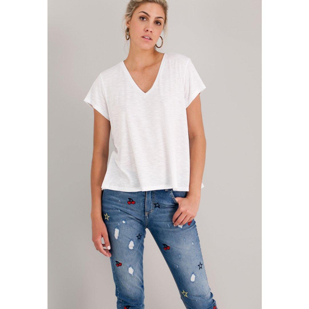 Μονόχρωμο t-shirt με λαιμόκοψη V. ενδυματα   μπλουζεσ τοπ   basics