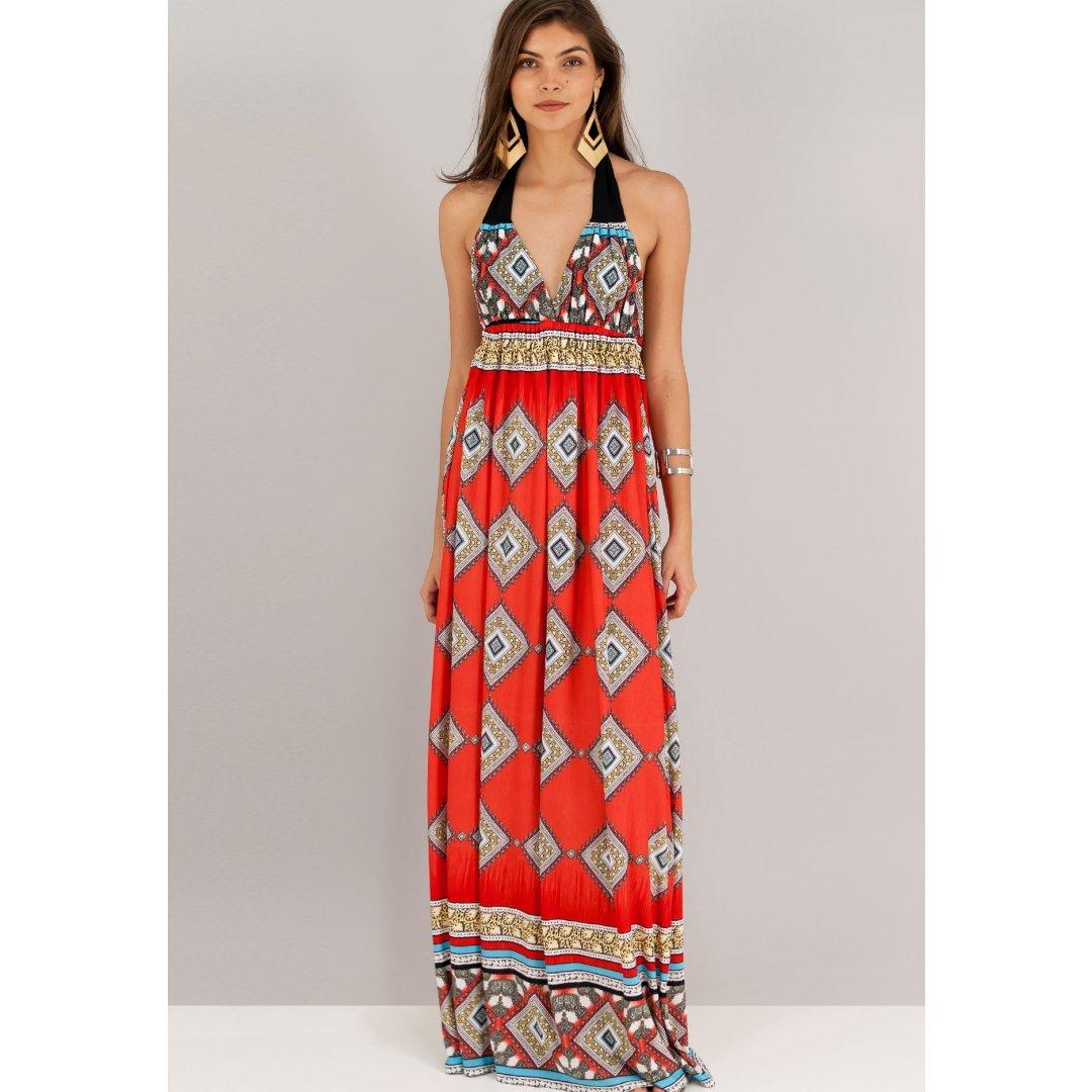 Μακρύ εμπριμέ φόρεμα με δέσιμο στο λαιμό και ανοιχτή πλάτη. ενδυματα   φορεματα