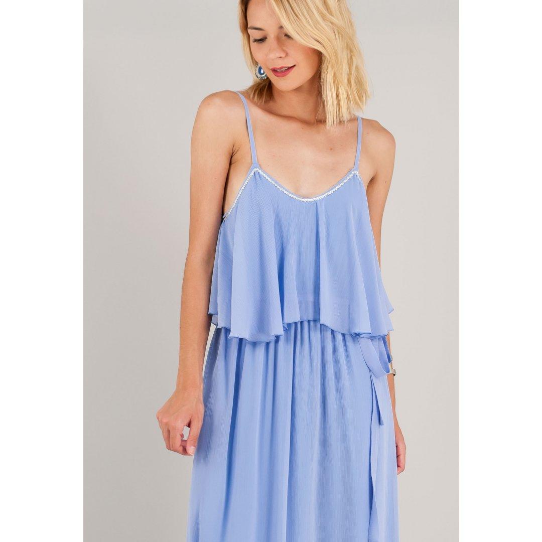 Μακρύ μονόχρωμο φόρεμα με βολάν στο μπούστο. ενδυματα   φορεματα