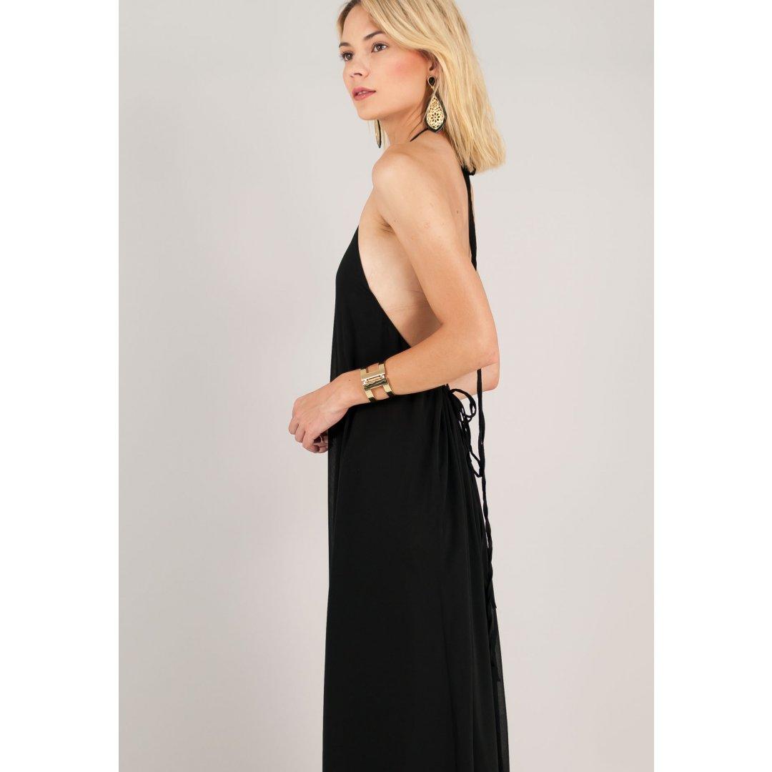 Μακρύ φόρεμα με δέσιμο στο λαιμό και ανοιχτή πλάτη.