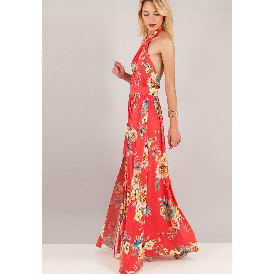 Μακρύ φλοράλ φόρεμα με χιαστί μπούστο και ανοιχτή πλάτη.
