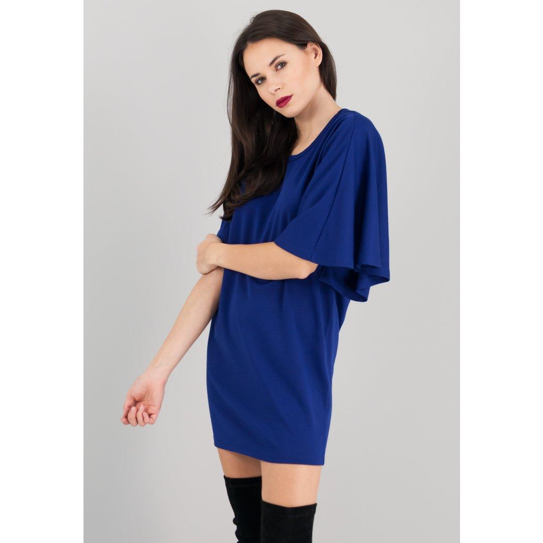 Μίνι μπλε φόρεμα με ασύμμετρα μανίκια.