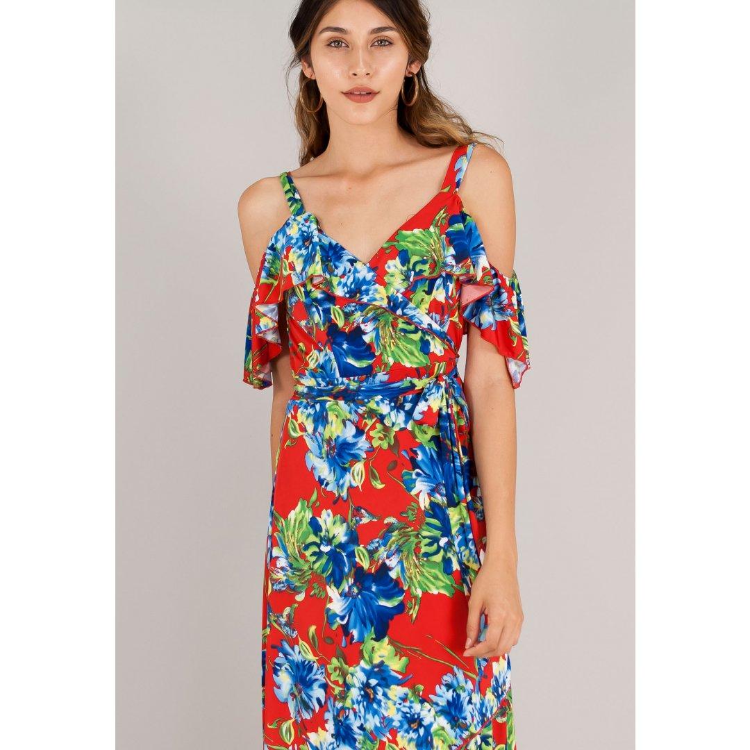 Εμπριμέ κρουαζέ φόρεμα με έξω τους ώμους και τιράντες. ενδυματα   φορεματα