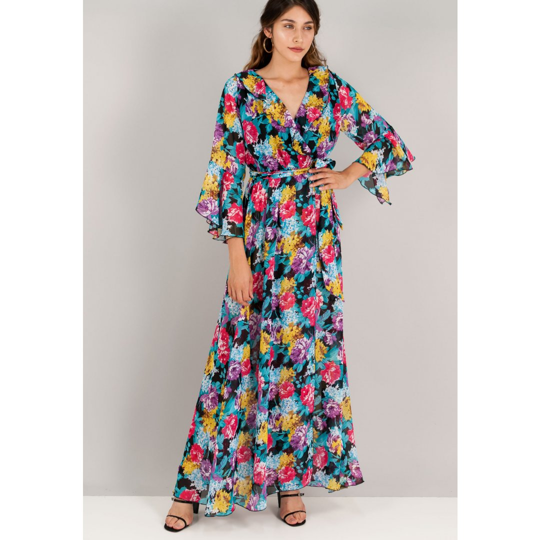 Εμπριμέ κρουαζέ φόρεμα σε στιλ ρόμπας με μανίκια καμπάνα και δέσιμο στη μέση. ενδυματα   φορεματα