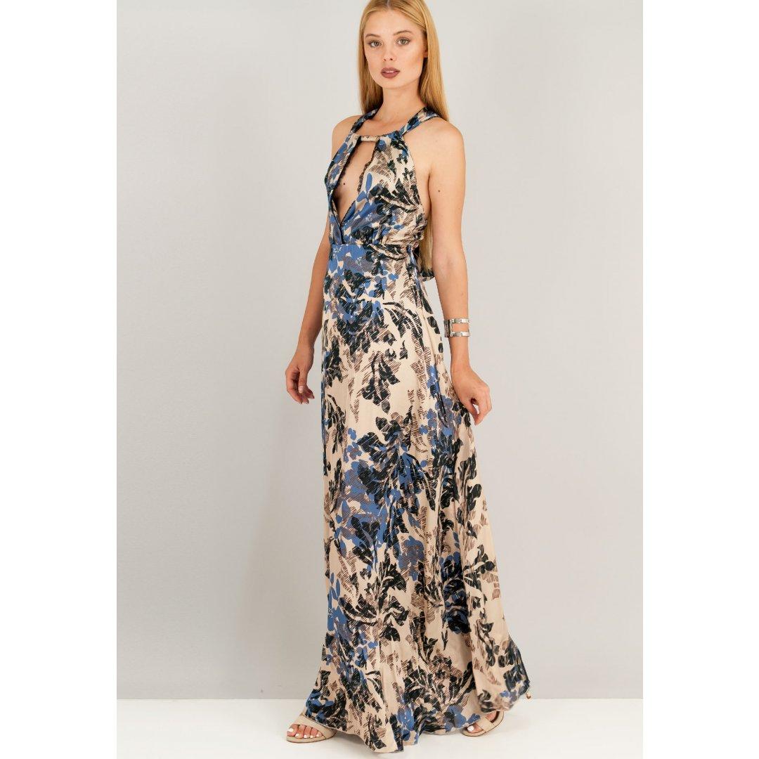 Μάξι εμπριμέ σατέν φόρεμα με χιαστί δέσιμο στη πλάτη. ενδυματα   φορεματα