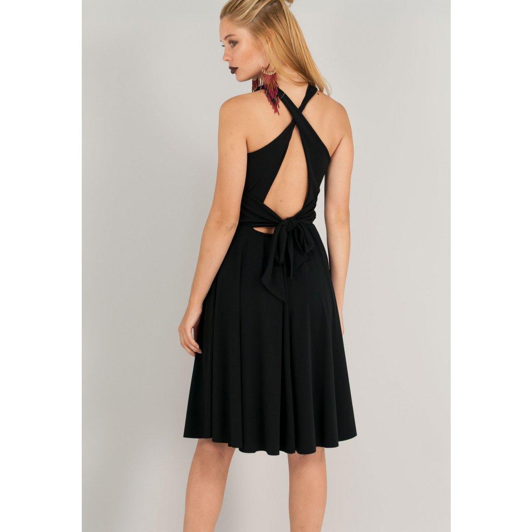 Φόρεμα σε γραμμή Α με χιαστί δέσιμο στη πλάτη.