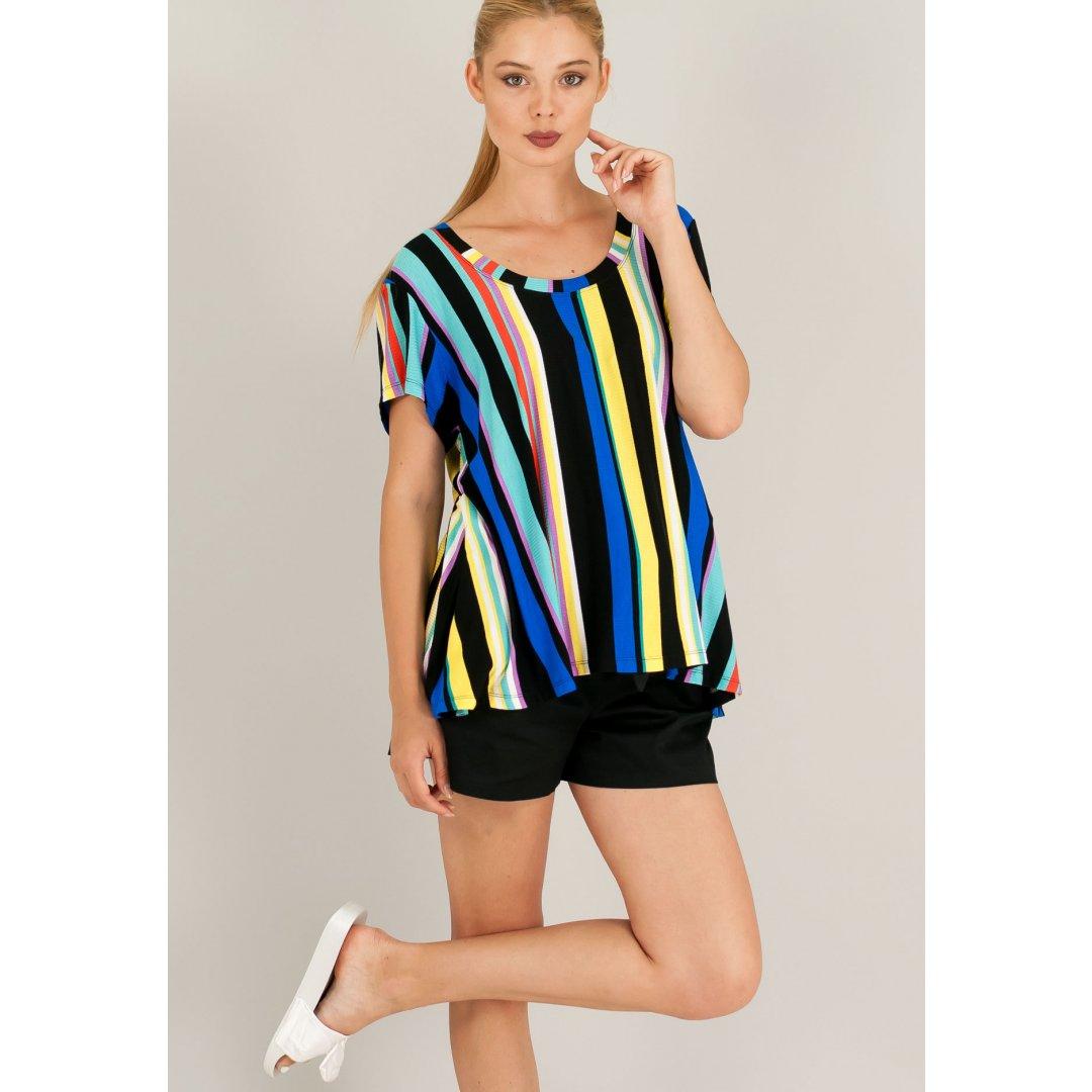Ριγέ πολύχρωμο t-shirt. ενδυματα   μπλουζεσ τοπ   basics