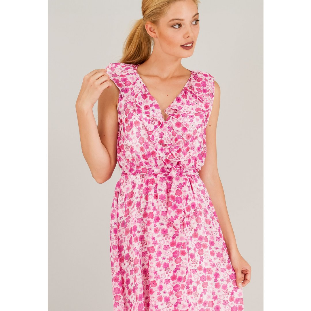 Αμάνικο κρουαζέ εμπριμέ φόρεμα σε στυλ ρόμπας. ενδυματα   φορεματα