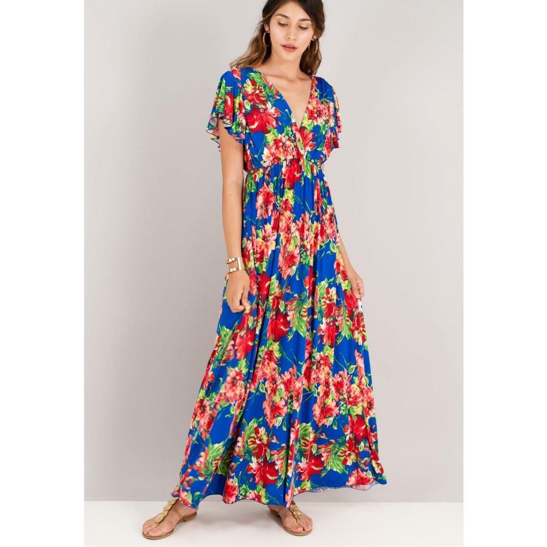 Μακρύ εμπριμέ φόρεμα με κρουαζέ μπούστο και κοντά μανίκια.