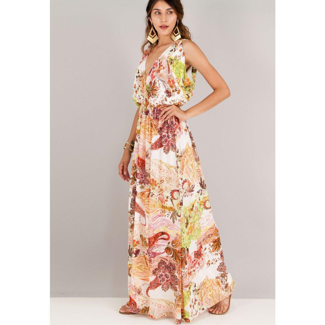Μακρύ εμπριμέ φόρεμα με φαρδύ μπούστο και άνοιγμα στη πλάτη. ενδυματα   φορεματα