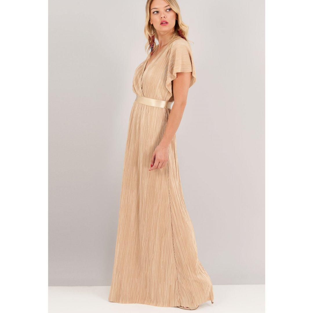Μακρύ πλισέ φόρεμα με κρουαζέ λαιμόκοψη. ενδυματα   φορεματα