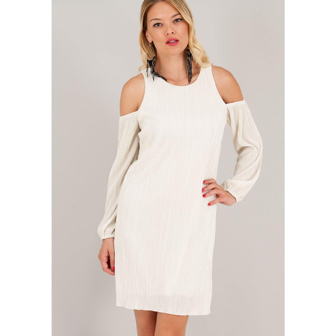 Πλισέ φόρεμα με μακριά μανίκια και έξω τους ώμους. ενδυματα   φορεματα   μίνι φορέματα