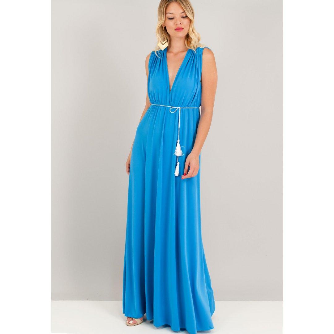 Μακρύ φόρεμα σε αρχαιοελληνικό στιλ με δαντελένιο μοτίβο στη πλάτη.