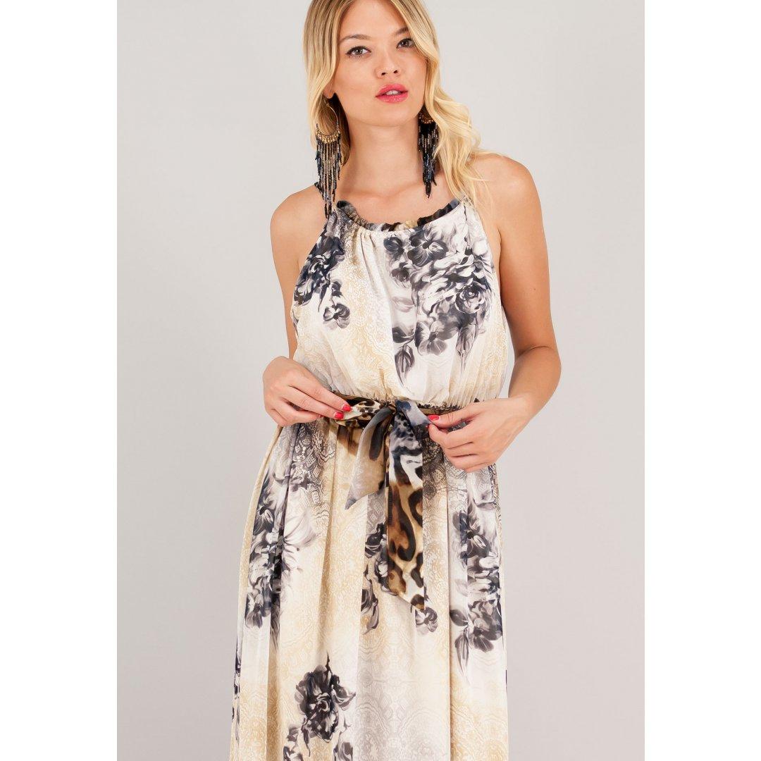 Μακρύ εμπριμέ φόρεμα με υφασμάτινη ζώνη.