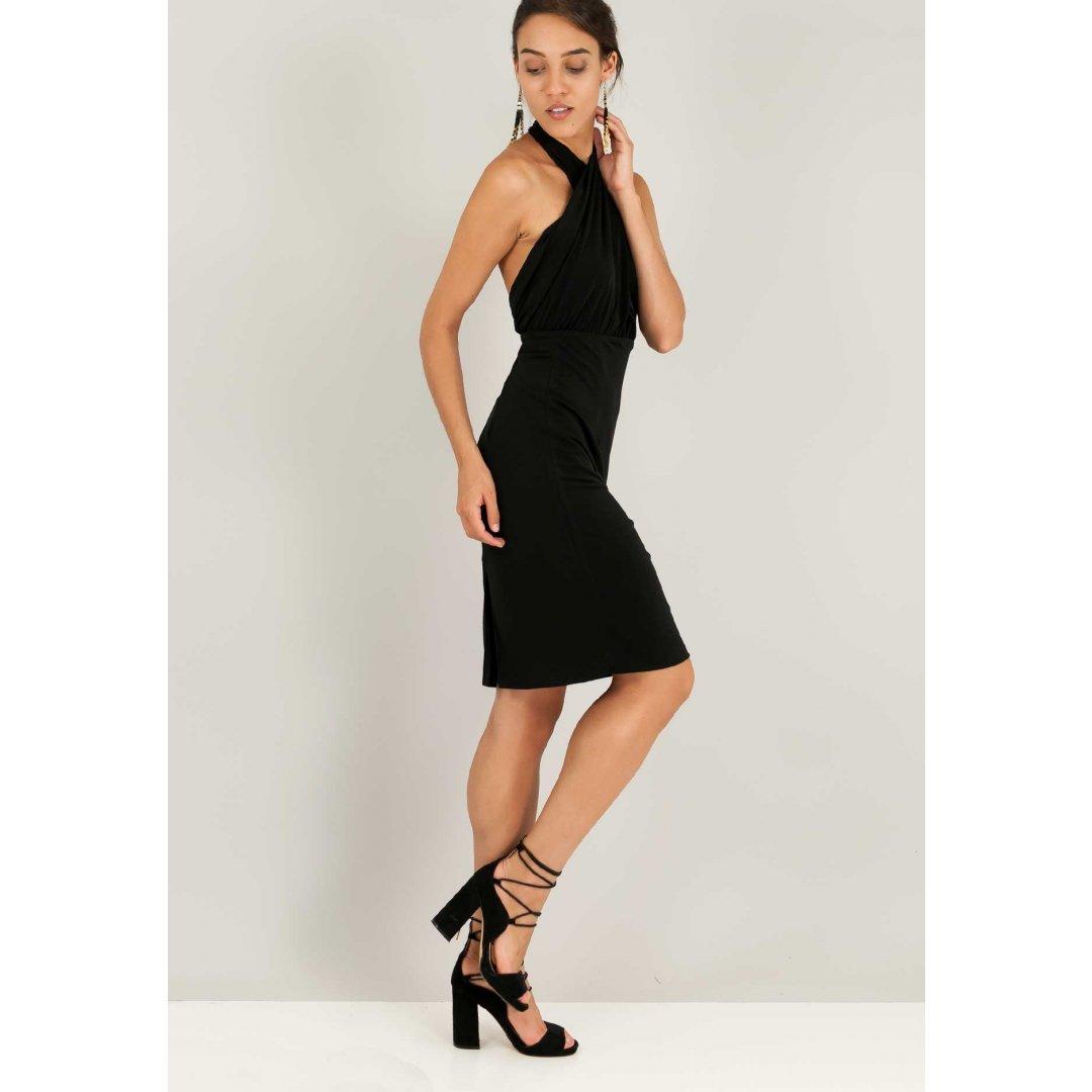 Φόρεμα με κρουαζέ μπούστο και ανοιχτή πλάτη.