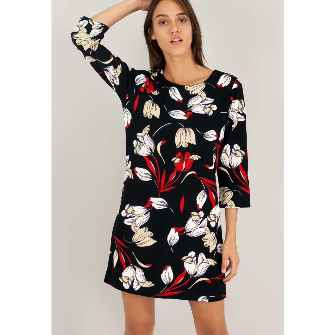 Μίνι εμπριμέ φόρεμα με μανίκια 3/4.