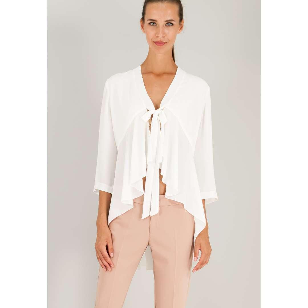 Ασύμμετρη μπλούζα με δέσιμο μπροστά.
