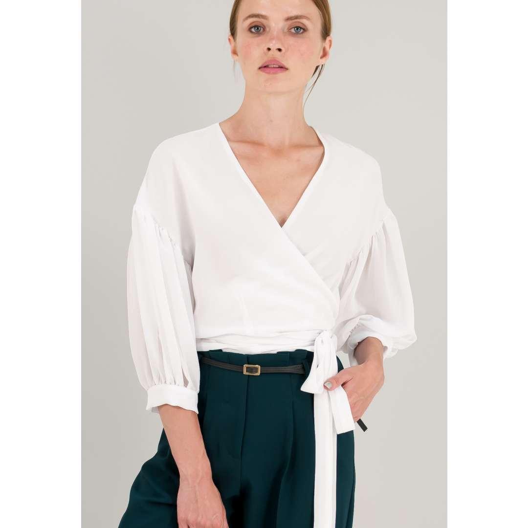 Κοντό κρουαζέ πουκάμισο με δέσιμο στη μέση. ενδυματα   πουκαμισα