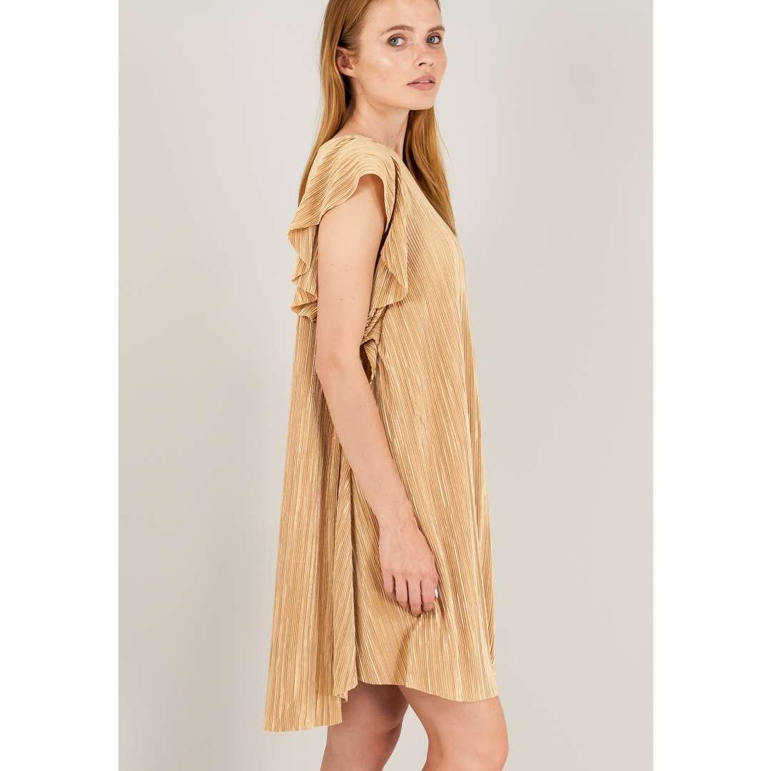 Μίνι πλισέ φόρεμα με βολάν στα μανίκια. ενδυματα   φορεματα