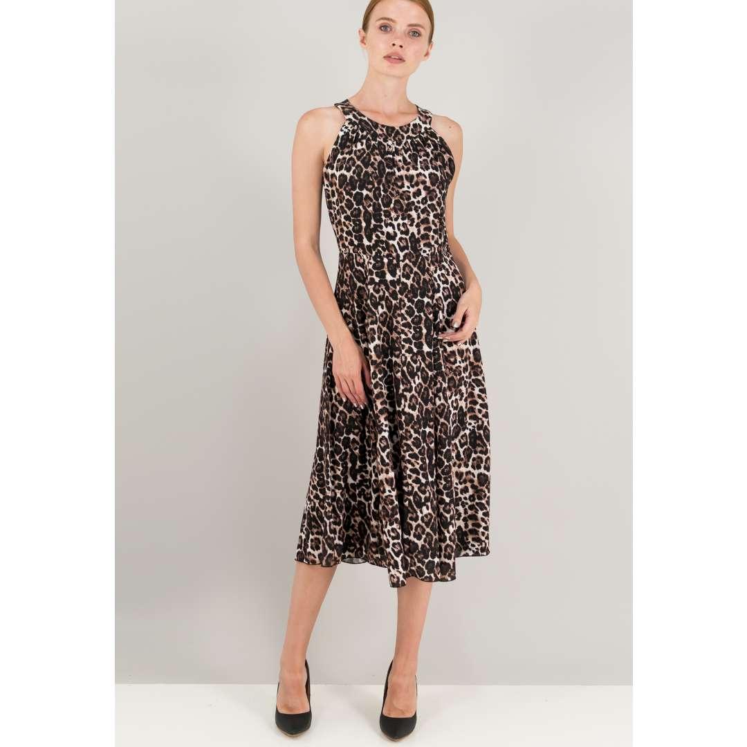 Μίντι κλος animal print φόρεμα.