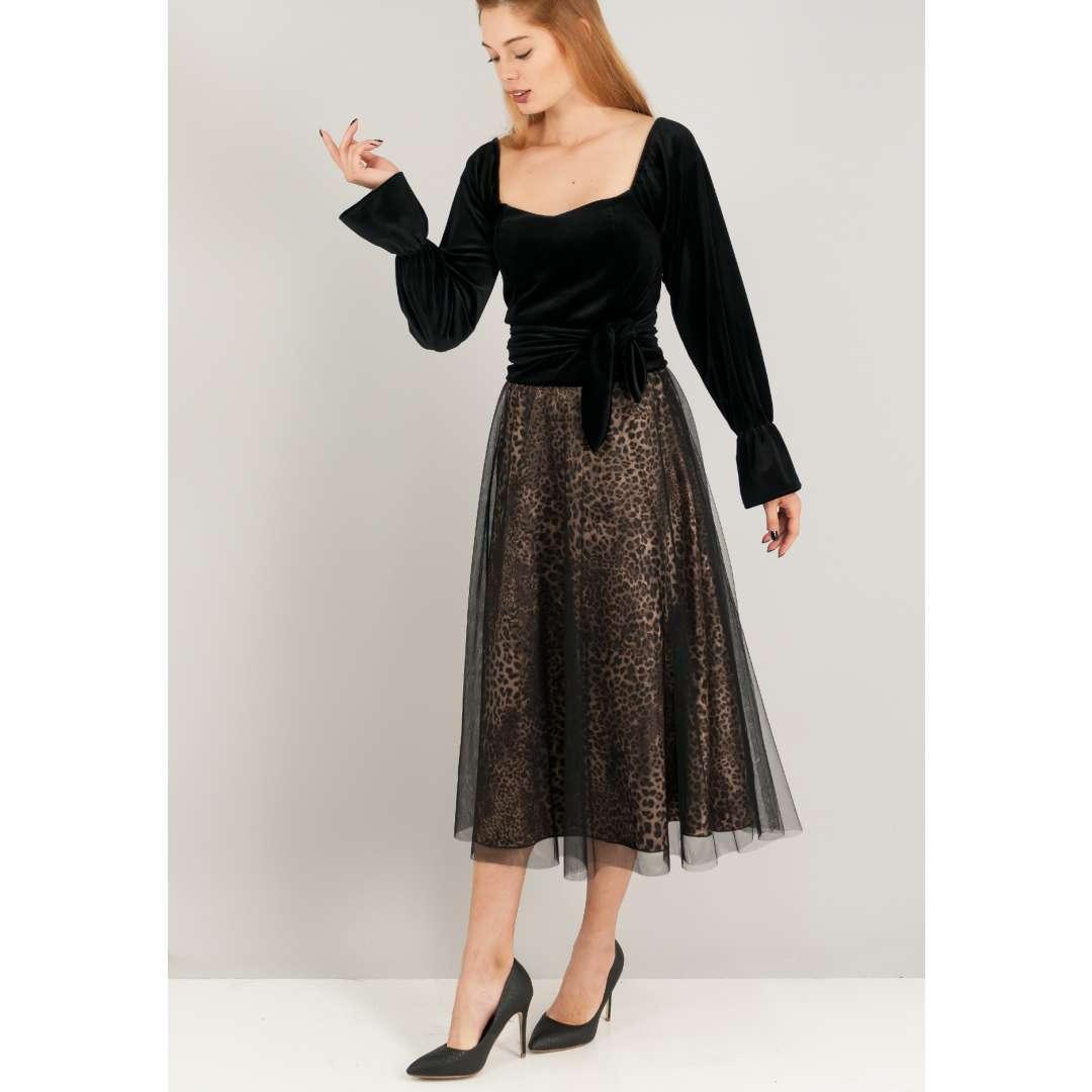 Μίντι animal print φούστα με δίχτυ.