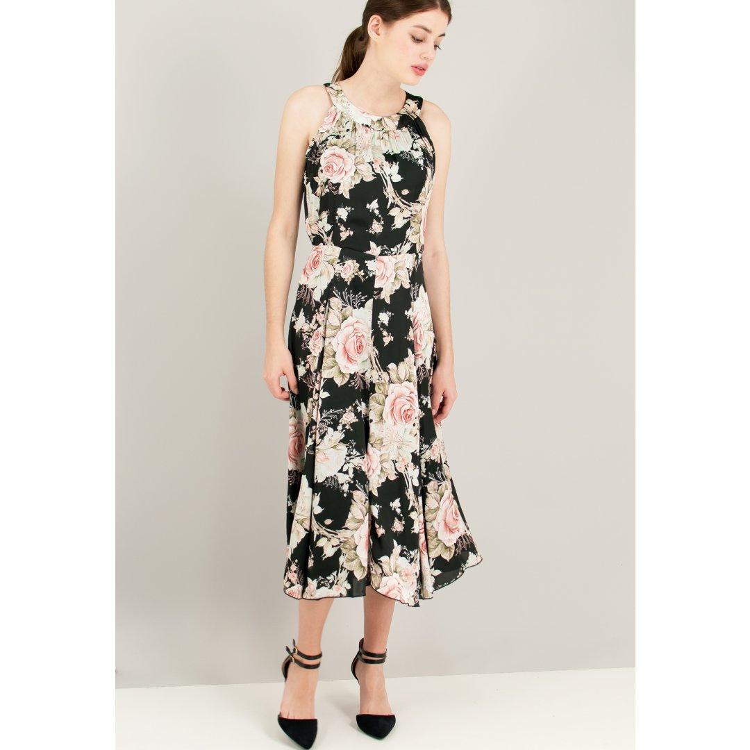 Μίντι κλος φλοράλ φόρεμα.
