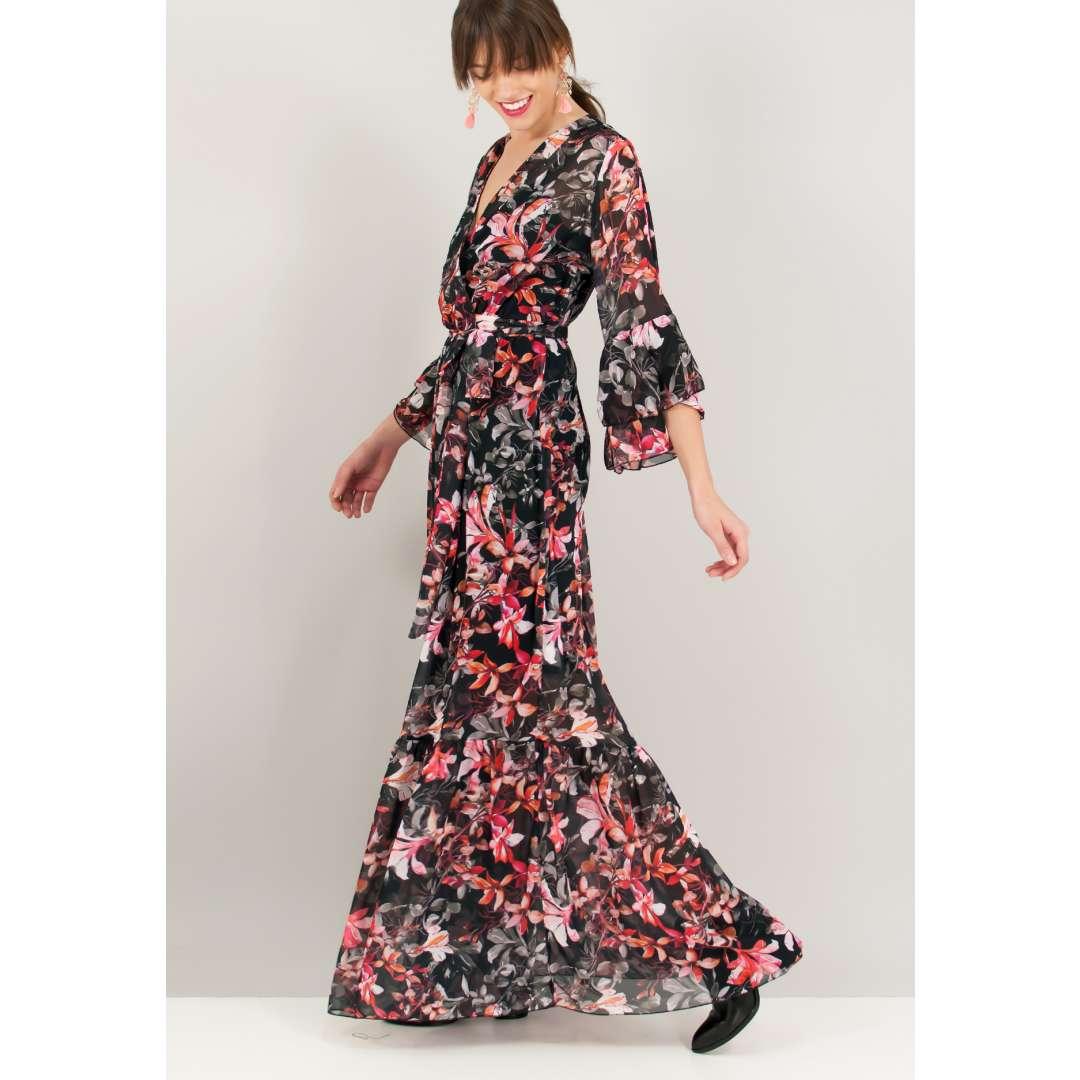 Μάξι εμπριμέ φόρεμα με κρουαζέ δέσιμο στη μέση. ενδυματα   φορεματα
