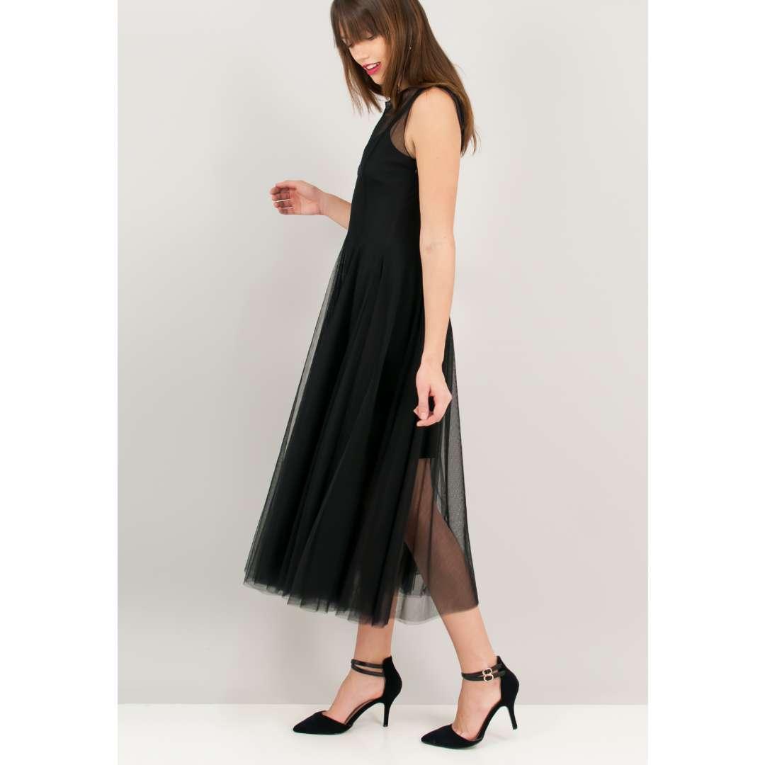 Φόρεμα με αντίθεση από δίχτυ.