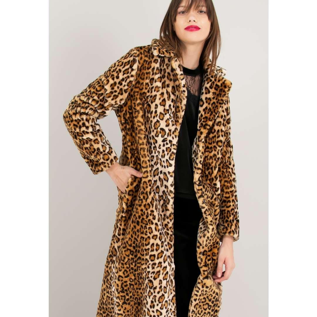Animal print γούνινο παλτό. ενδυματα   tzaket πανωφορια