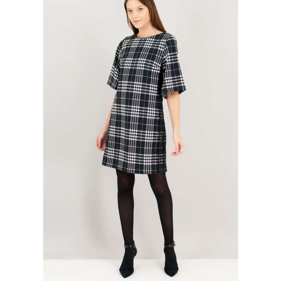 Pied de poule φόρεμα με δαντελένια λεπτομέρεια στο πλάι. ενδυματα   φορεματα