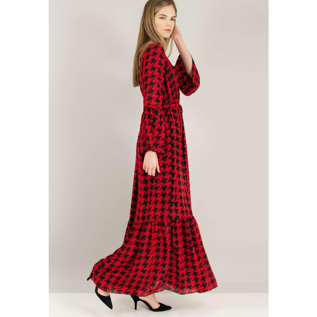 Μακρύ εμπριμέ δετό κρουαζέ φόρεμα.