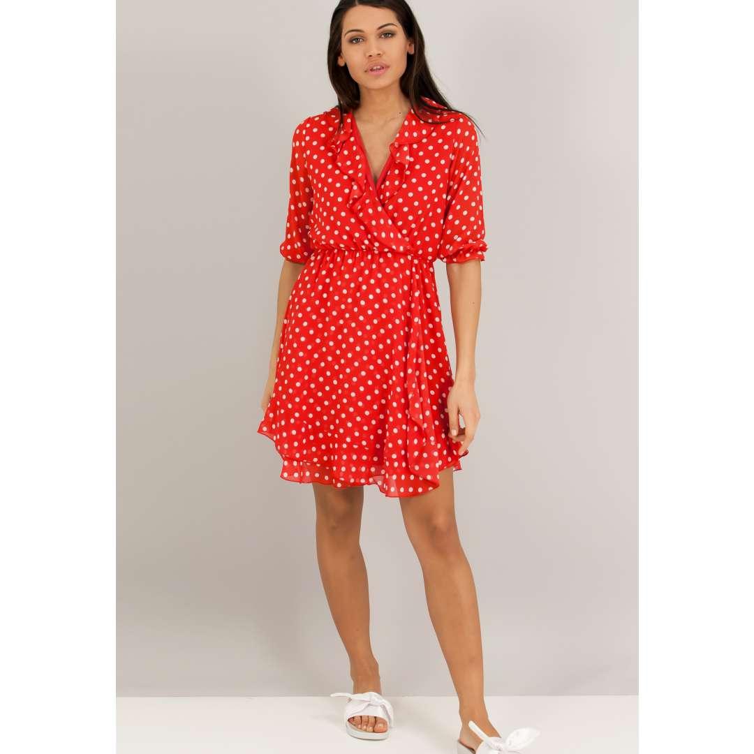 Κοντό κρουαζέ φόρεμα με βολάν στο μπούστο. ενδυματα   φορεματα