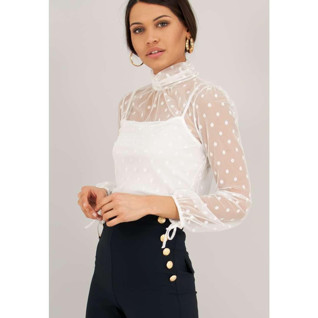 Ημιδιαφανές πουκάμισο με πουά δίχτυ. ενδυματα   πουκαμισα