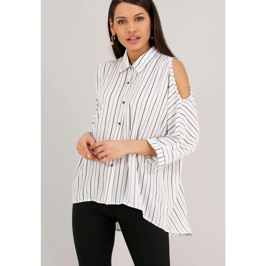 Ασπρόμαυρο ριγέ πουκάμισο με έξω τους ώμους. ενδυματα   πουκαμισα