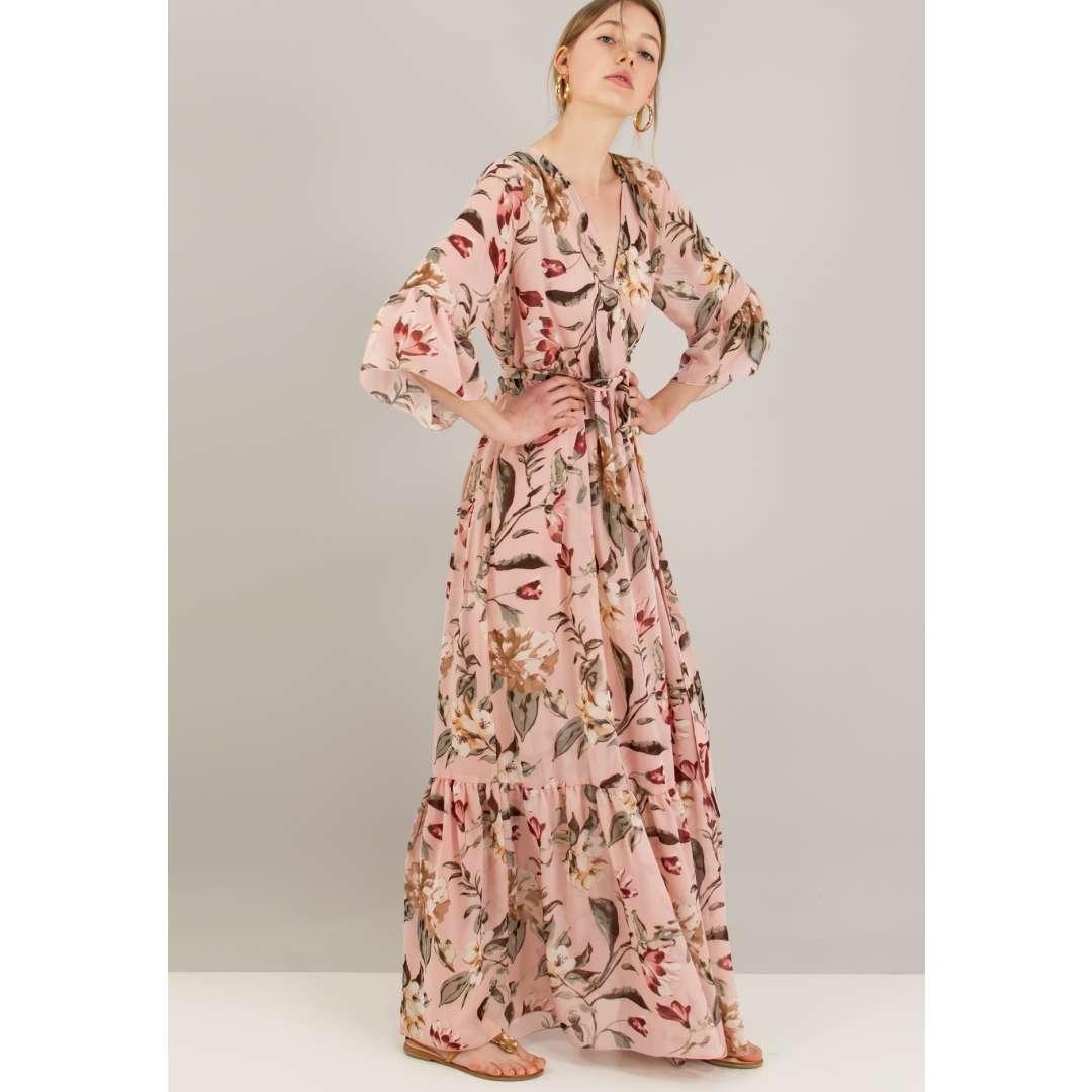 Μακρύ εμπριμέ κρουαζέ φόρεμα. ενδυματα   φορεματα