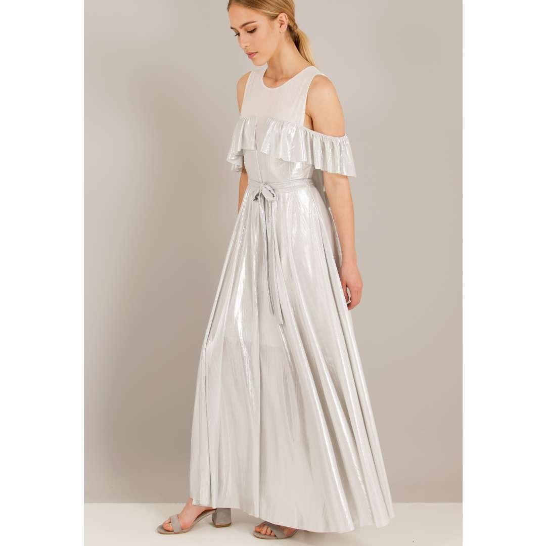 Λούρεξ φόρεμα με έξω τους ώμους και αντίθεση με δίχτυ.