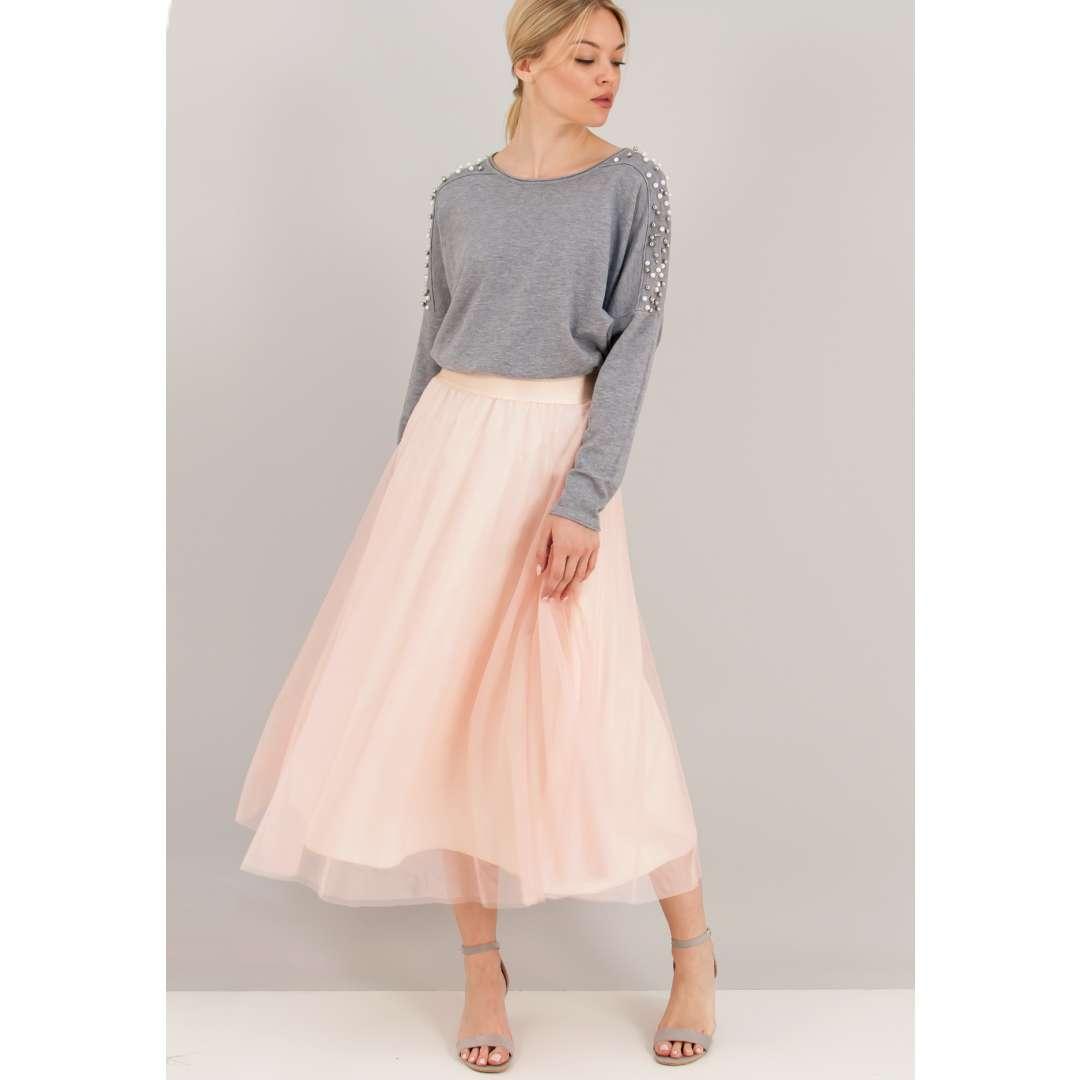 Τούλινη φούστα με λάστιχο στη μέση  Τούλινη φούστα σε άνετη γραμμή με λάστιχο στη μέση  Σύνθεση 100 πολυεστέρας