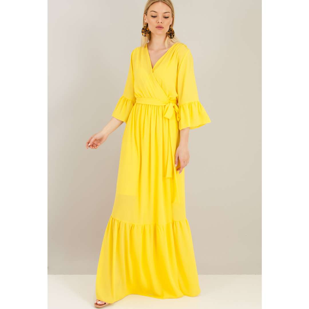 b4677c04f06 Μακρύ δετό κρουαζέ φόρεμα.