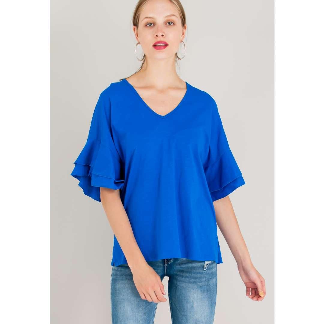 Loose μπλούζα με βολάν στα μανίκια. ενδυματα   μπλουζεσ τοπ   basic μπλούζες