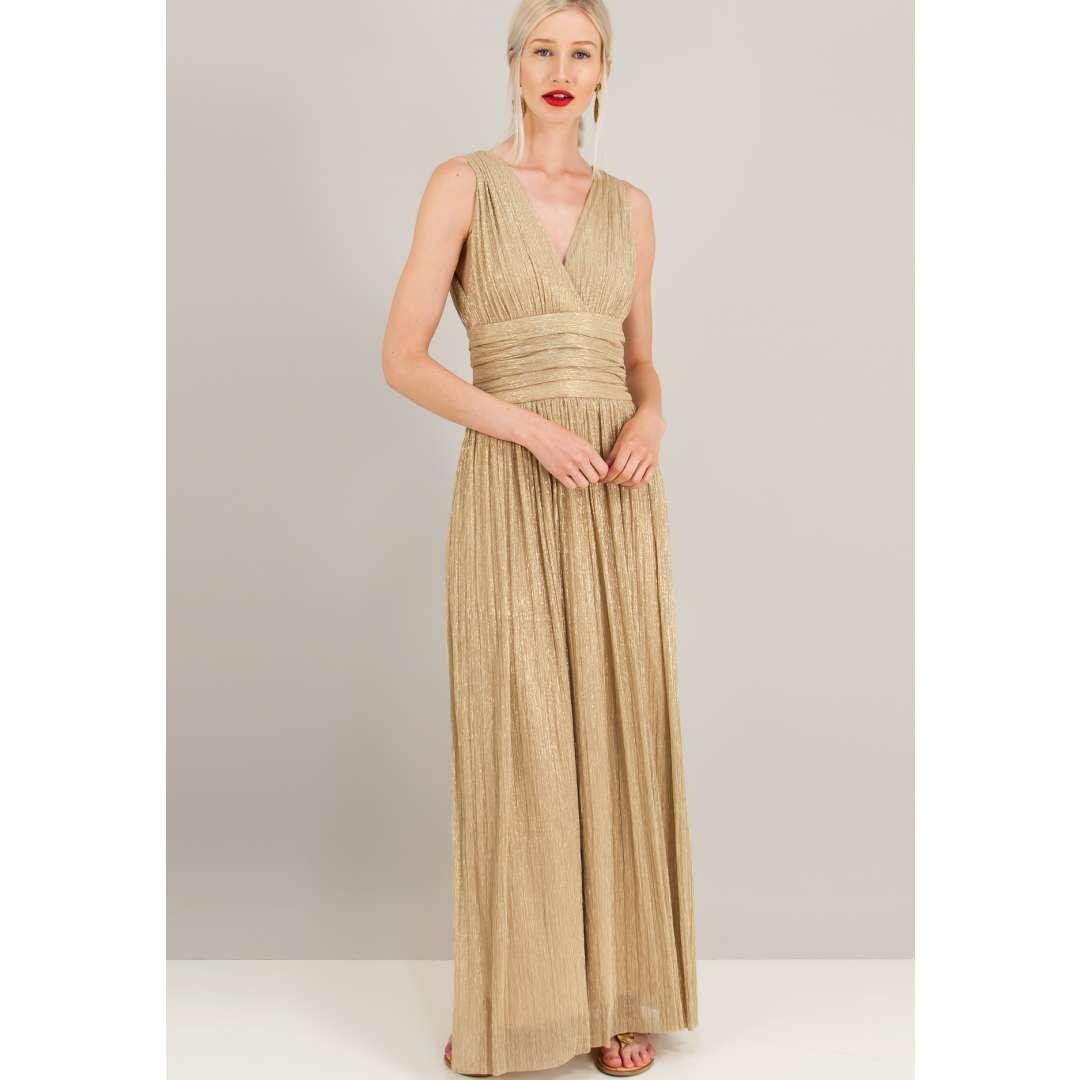 Λούρεξ κρουαζέ φόρεμα με σούρες. ενδυματα   φορεματα   μακριά φορέματα