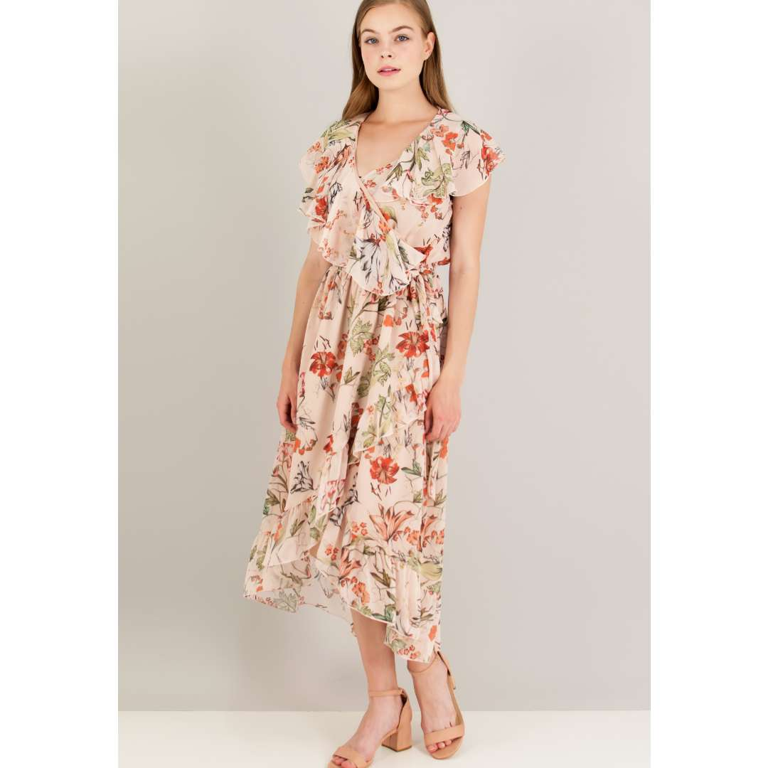 Ασύμμετρο εμπριμέ κρουαζέ φόρεμα. ενδυματα   φορεματα   μίντι φορέματα