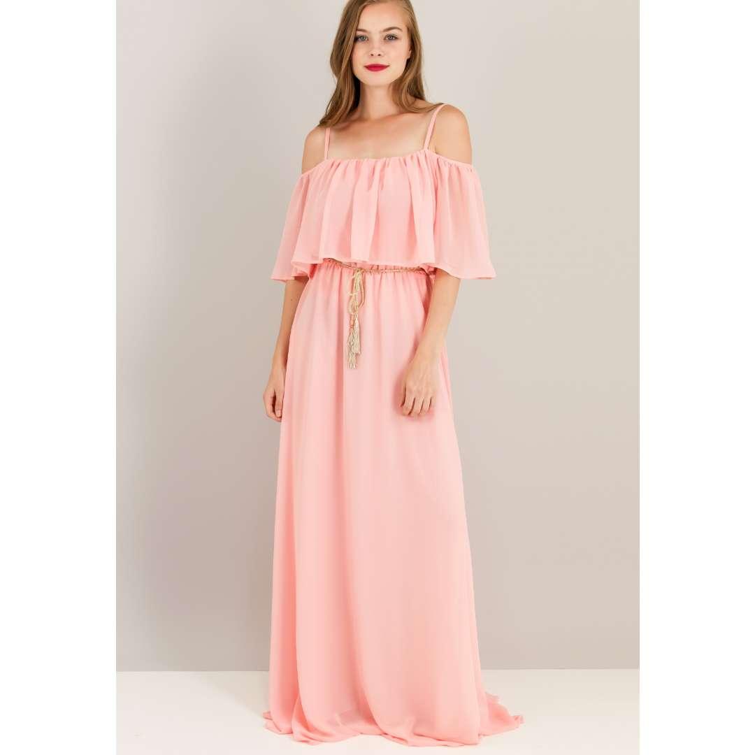 Μάξι φόρεμα με βολάν στο μπούστο. ενδυματα   φορεματα   μακριά φορέματα