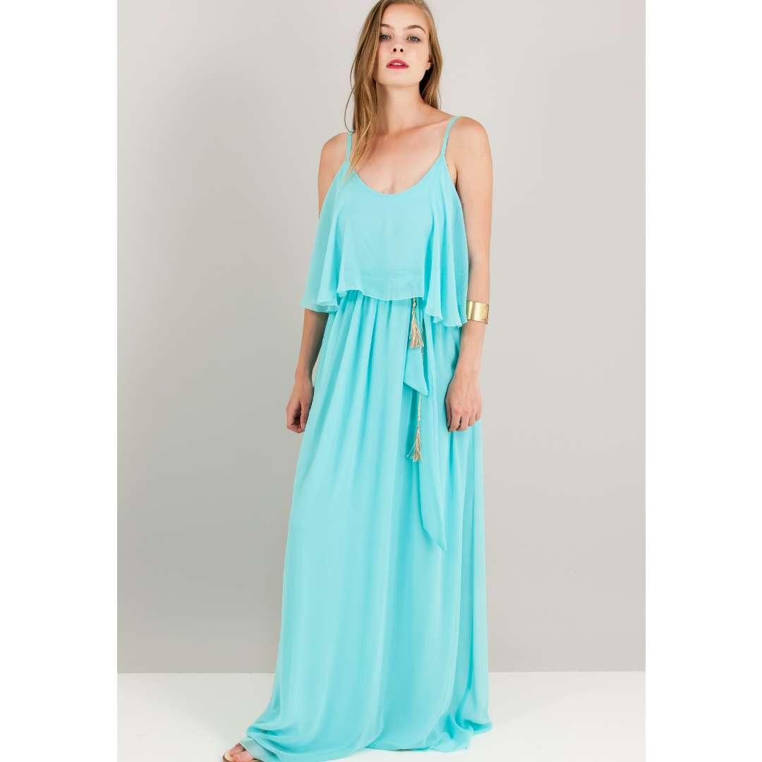 Φόρεμα με βολάν στο μπούστο. ενδυματα   φορεματα   μακριά φορέματα
