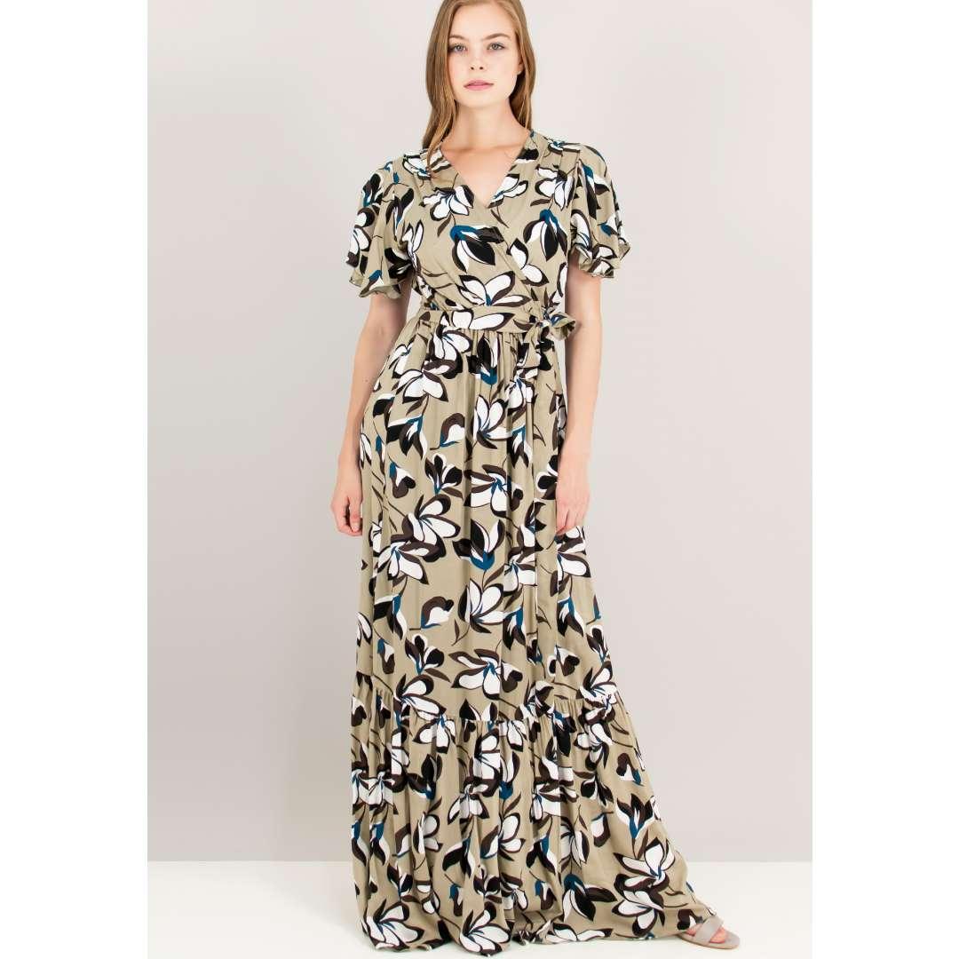 Εμπριμέ δετό κρουαζέ φόρεμα.